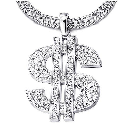 ip Hop Punk Große US Dollar Geldzeichen Anhänger mit Strass, Herren Damen Halskette aus Edelstahl mit 80cm Seil-Kette (80's Hip Hop Modeschmuck)
