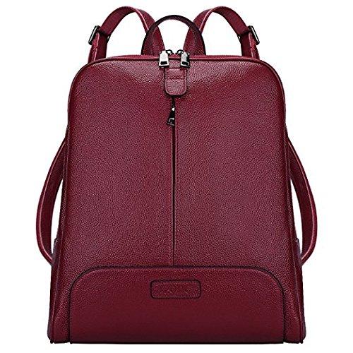 S-ZONE 14 Inch Laptop Frauen echtes Leder Rucksack Geldb?rse Reisetasche Rot