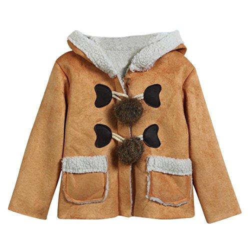 Longra Baby Mädchen Junge Winterjacke Wintermäntel mit Kapuze Unisex Baby Kapuzenmantel Kapuzenjacke Trenchcoat Warm Outwear Oberbekleidung (0-24Monate) (100CM 18Monate, Khaki)