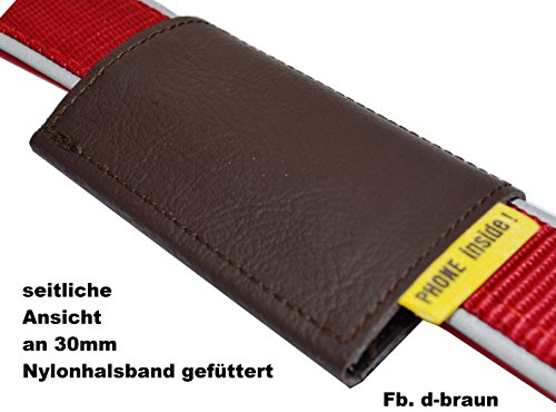 Halsbandtasche, Nappaleder schadstofffrei,in 2 Farben lieferbar, mit 2 Innenfächern für bis zu 4 Hundemarken, Adresse, Telefonnummer, 50x75mm (Dunkelbraun)
