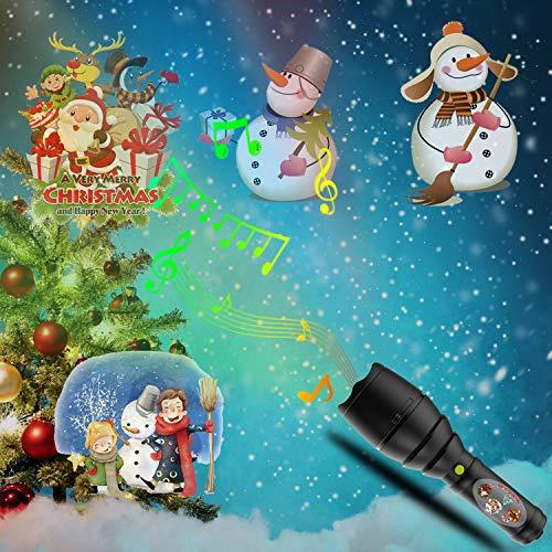 Christmas Lights Projektor, LED Tragbare Taschenlampe Mit 12 Muster Folien Und Stativ Musik Batterie Betrieben Für Party, Geburtstag, Weihnachten, Halloween,Black