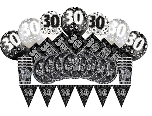 Glitz Schwarz 30. Geburtstag Party Supplies Kit für 8 - Supplies Kit Geburtstag Party 30.