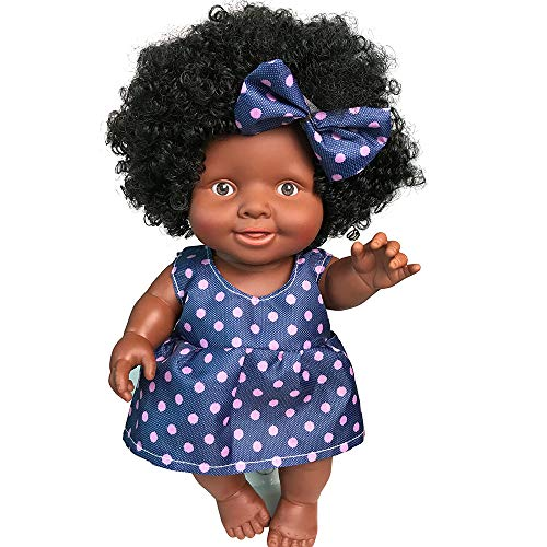 American lebensechte 10 Zoll Baby Puppen für Kinder Mädchen Spielzeug Baby bewegliches Gelenk Afrikanische Puppe Toy Black Doll Babypuppe Geburtstagsgeschenk (Blau) ()