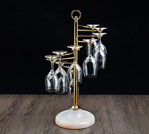 CXQ Becherhalter Kreativität Eisen Kunst Hohe Becherhalter Continental Haushalt Einfache Rotwein Glashalter Boden 20.5 × Breite 27 × Höhe 56.5cm (Farbe : #1) (Hölzerne Runde Sockel)