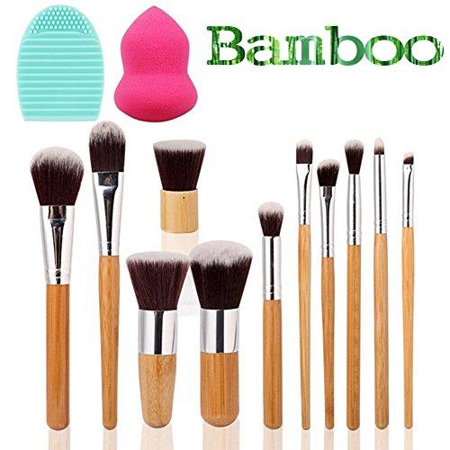 vonisa Manette en bambou pinceaux de maquillage set-natural Vegan Contour Pinceau Kabuki professionnel poils doux Kits Pro synthétique maquillage Kabuki Pinceau Kabuki avec sac portable Foundation Pinceaux