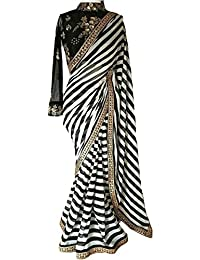 Regent-e Fashion Women's Black And White Striped Georgette Print Latest Designer Wedding Wear Saree With Cotton...