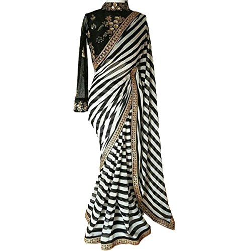 Regent-e Fashion Women\'s Black And White Striped Georgette Print Latest Designer Wedding Wear Saree With Cotton&Net Embroidery Sequence Work Blouse Piece Free Size Saree