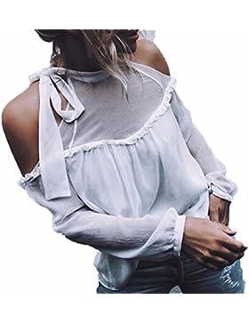 HARRYSTORE Mujeres Off Shoulder Blusa Atractiva de gasa de manga larga camisetas bandage Halter Tops