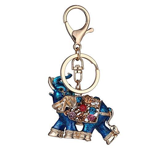 MAJGLGE - Llavero de Elefante de la Suerte de Tailandia con Diamantes de imitación Coloridos para Mujer, Llavero de Coche, Color Azul