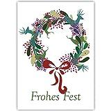 4er Set Edle Unternehmen Weihnachtskarten mit Hirsch Weihnachts Kranz, innen blanko/weiß als geschäftliche Weihnachtsgrüße für Firmen Kunden und Mitarbeiterr: Frohes Fest