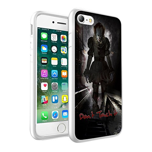 um Leichte Handyhülle, Einzigartiges cooles Design ''DONT TOUCH IT'' Prodective Hard back Slim Thin Fit PC anti-Scratch, bruchsicher Kratzfest Handyhülle für iPhone 8 - INSPIRED BY MOVIE IT CLOWN SCARY AWSOME DESIGN 001 (Scary Movie Clown)