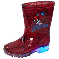 Marvel Spiderman Light Up Wellington Boots Kids Flashing Rain Snow Shoes Wellies