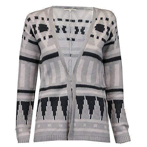 Threadbare Cardigan de Dames Femme Tricot Bout Ouvert Aztèque Fourrue Sweat Hiver - Gris - Ilv118, M