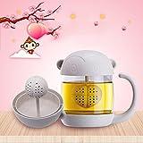 kiss me Katze Glas Teetasse teetasse mit deckel Becher mit einem Deckel Sieb Filter, nette Katze Kaffeebecher Schwanz Griff für Kinder Kind Weihnachtsgeschenk 250ml (129x86x119mm)