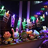 #5: AtneP 20Led Photo Clip String Lights for Home Decorations Color Changing Battery Operated