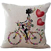 Impresión digital, diseño de hada/diseño de flor y mariposa patrón de lino cojín almohada de algodón–Manta F