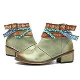 Socofy Bottes Femme, Bottines en Cuir à Talons Moyens Boots Chaussures de Ville Mustangs Hiver Printemps 2018, Design Original Style Ethnique - Bleu Vert