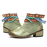 Socofy Damen Kurzschaft Stiefel, Blume Boots Klassische Ankle Boot Kurz Stiefel Handmade ANIT-Rutsch Komfort Lederschuhe Blau 2 40