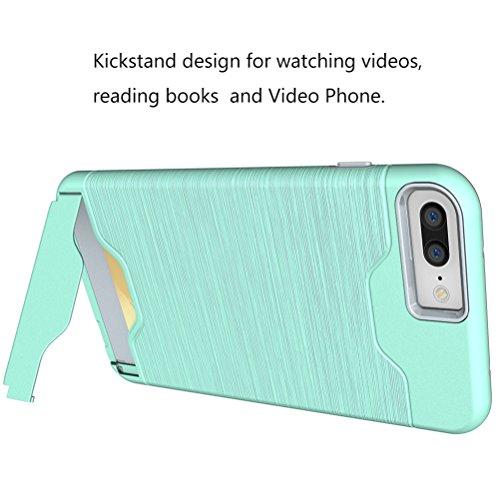 Cover iphone 7, Bestsky Silicone e Plastica Duro Rugged Armor Case per schede Card Slot Supporto KickStand Portafoglio Bumper Protezione Custodia per iPhone 7 Green