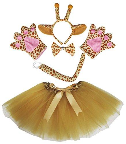 petitebelle Giraffe Kostüm Stirnband Schleife Schwanz Handschuhe braun Tutu Set für Lady Gr. One Size, - Giraffe Tutu Kostüm