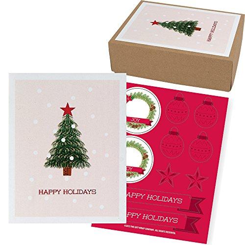 The Gift Wrap Company 79899 Weihnachtskarten in Box, 9 x 12 cm, Little Tree