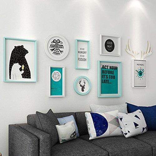 Dekorrahmen Moderne Massivholz Bilderrahmen Wand Sets Von 6, hängen Bilderrahmen Wand Wohnzimmer Schlafzimmer Kombination Bilderrahmen Wand Sofa Hintergrund Bilderrahmen Wand ( Farbe : B , größe : 7frames/159*54CM )