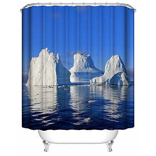 HUIYIYANG Helles Weißes Eisberg Winter Landschafts 3D Kunst Thema Kundenspezifischer Wasserdichter Polyester Gewebe Badezimmer Duschvorhang 60