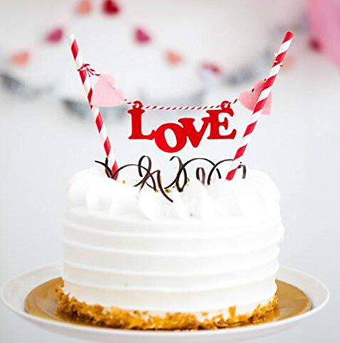 2 x LOVE Kuchen Deckel Birthday Kuchendekoration Flagge Hochzeit Banner