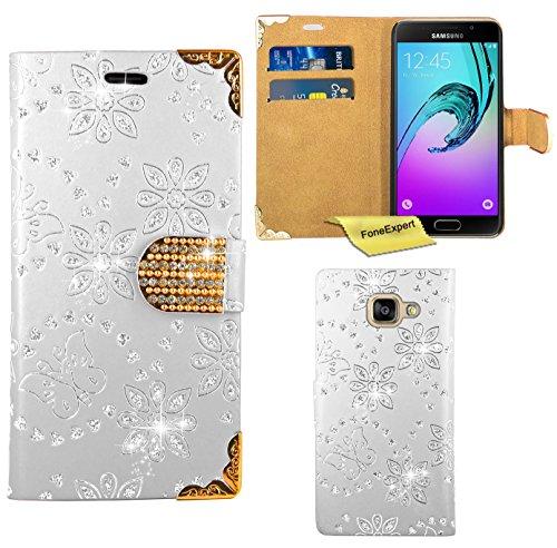 Preisvergleich Produktbild Samsung Galaxy A5 (2016) Handy Tasche, FoneExpert® Bling Luxus Diamant Hülle Wallet Case Cover Hüllen Etui Ledertasche Premium Lederhülle Schutzhülle für Samsung Galaxy A5 (2016) (Weiß)