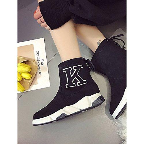 HSXZ Scarpe donna Nubuck Pelle scamosciata PU Autunno Inverno Comfort moda Stivali Stivali tacco piatto rotondo Mid-Calf Toe stivali per Casual Marrone Verde Black
