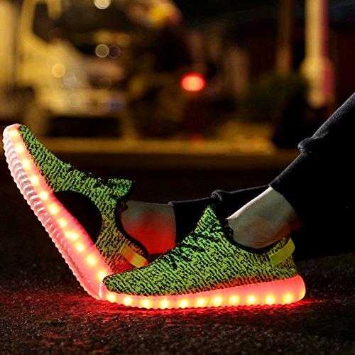 Le scarpe da ginnastica iPretty con luci a LED, unisex, 7 colori lampeggianti USB, per corsa all'aria aperta, per uomo e donna Giallo