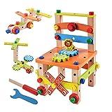 Holzwerkbank Kinder 49tls. Holzbauklötze Lustige Kleine Montage und Demontage Stuhl Puzzle Konstruktion Pädagogische Kreativspielzeug DIY Set ab 3 Jahren (style B)