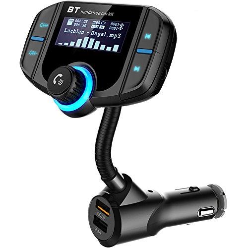 Bluetooth FM Transmitter, SRUIK KFZ Auto Radio Adapter Car Kit mit 2 USB Ladern, AUX-Eingang & 1.7-Zoll-Display zur Übertragung von Musik vom TF-Kartenslot, iOS- und Android-Geräte