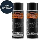 TRISTARcolor Autolack Spraydosen Set Ford 3CYCWWA Atlantikblau Metallic/Azul Egeo Metallic Basislack Klarlack Sprühdose 400ml