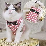 Lalawow Katzengeschirr mit Leine Leinwand Klett Weste Cute Dot Pattern