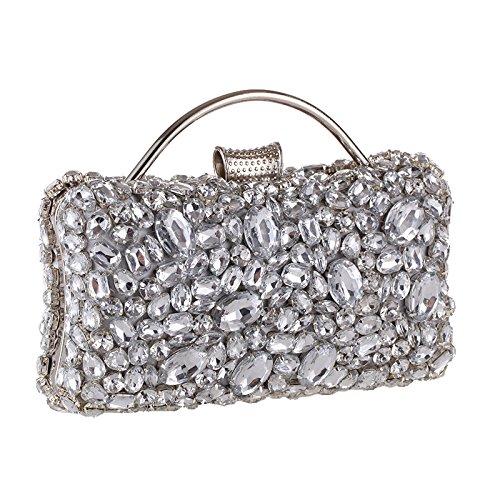Flash Pearl Deluxe Damen-Tasche, Damen Abendtasche, Brautschmuck, Hochzeitspack, Balltasche, Abendpaket, Silber, freie Größe