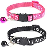 ZACAL Cat Collar with Bell and Safety Quick Release Buckle, Suitable and Adjustable To Fit All Domestic Cats, Available in Various Colour Sets, Pack of 2