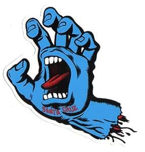 Santa Cruz Jim Phillips Sticker pour planche de skateboard Motif main hurlante Bleu 15cm