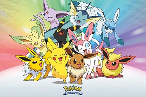 Pokemon-Pikachu-Eevee-Jolteon-Flareon-Vaporeon-Umbreon-Leafeon-Glaceon-Sylveon-Pster-91-x-61cm