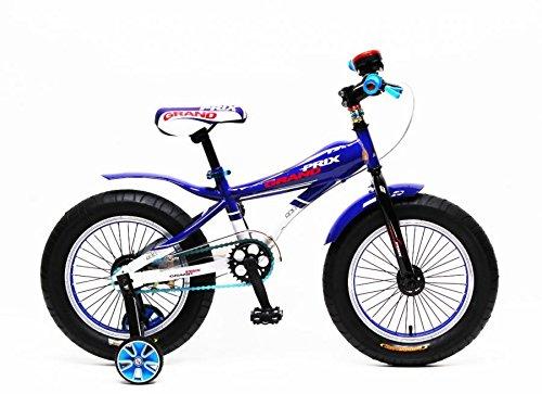 """Bicicletta Bici Fat Bike Grand Prix 16"""" pollici Blu Bianco"""