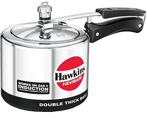 Hawkins Hevibase Aluminium Induction Model Pressure Cooker, 3 Litres, Silver