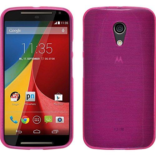 PhoneNatic Case kompatibel mit Motorola Moto G 2014 2. Generation - pink Silikon Hülle Brushed + 2 Schutzfolien