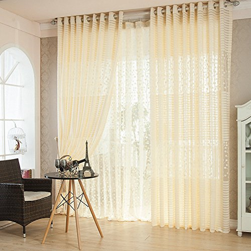 Generic 2 Panel Breathable Hollow out Window Screening Sheer ...