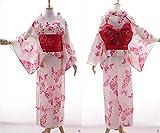 K-67 weiß rosa Schmetterling Blumen ORIGINAL Japan Kimono YUKATA OBI Gürtel Baumwolle Kawaii-Story