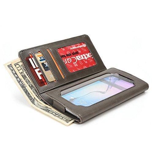 Kroo Portefeuille unisexe avec Samsung Galaxy S III mini/Ace 4/S4Zoom universel différentes couleurs disponibles avec affichage écran noir - noir Gris - gris