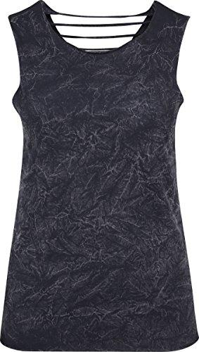 Crinkle Tank Top Shirt (Urban Classics Damen Ladies Crinkle Wash Back Cut Top, Schwarz (Black 7), Medium)