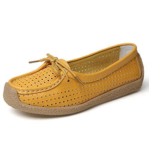 Z.SUO Mocassini Donna in pelle Moda comode loafers scarpe da guida Giallo