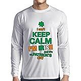 T-Shirt Manches Longues Homme Je ne peux pas garder le calme - Je suis irlandais - St. Paddy day clothing (XS Blanc Multicolore)