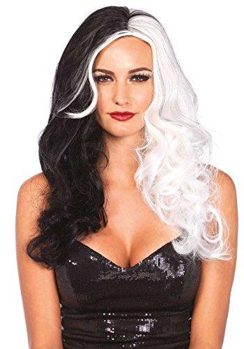 Bösewichte Kostüm Frauen - Leg Avenue A2672 - Zweifarbigen lange gewellte Bösewicht Perücke - Einheitsgröße, schwarz/weiß