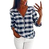IMJONO Bluse Damen elegant Frauen Spitze Mode Vintage,Frauen Reißverschluss Roll-up Langarm V-Ausschnitt lose Kariertes Hemd Bluse Top Pullover(Medium,Blau)